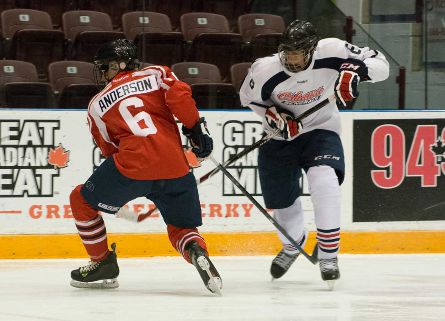 Rookie Serron Noel, the Oshawa Generals second round pick, 25th overall in the 2016 OHL draft attempts to slide the puck past Josh Anderson. Anderson was one of a selected group of free agents invited to the Oshawa Generals Orientation Camp on April 23 and 24 at the General Motors Centre.