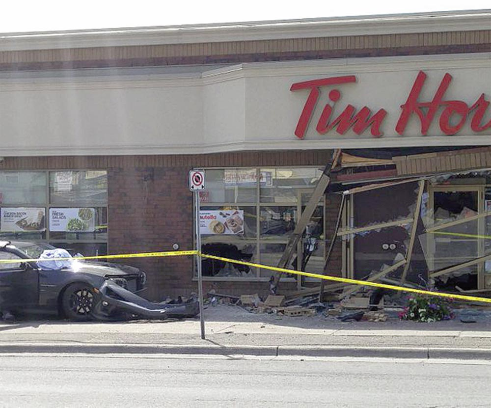 Two people were seriously injured after a car went off the road on King Street East, hitting the Tim Hortons near the intersection with Drew Road. The two women hit by the car are in hospital in stable condition. Police are looking to find two people they say were in the area at the time of the incident.