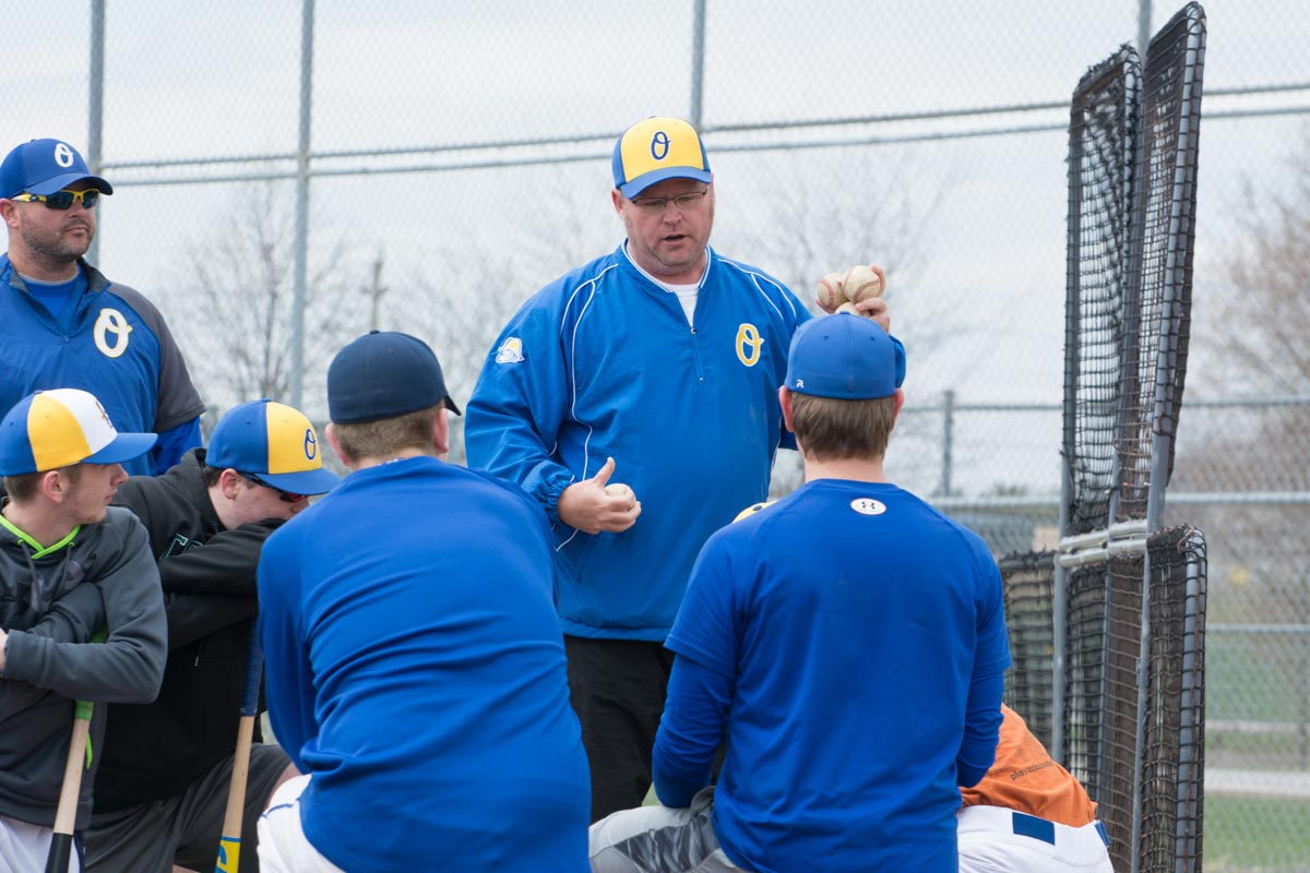 U18 Legionaires manager Daryl Macklem talks with his team at a practice session earlier this season.