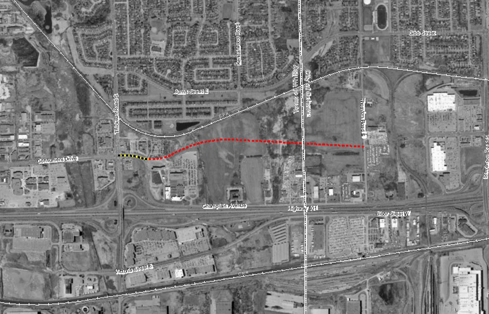 The region currently has plans for a new road, marked in red, to run between Thickson Road in Whitby and Thornton Road in Oshawa. The new road, Stellar Drive, will branch off from Champlain Avenue, marked in black and yellow, in Whitby, which in turn will be renamed to match the new moniker. Denyse Newton, the executive director of the Alzheimer Society of Durham Region, says the non-profit was never notified of the address change, only finding out about it in a newspaper ad.
