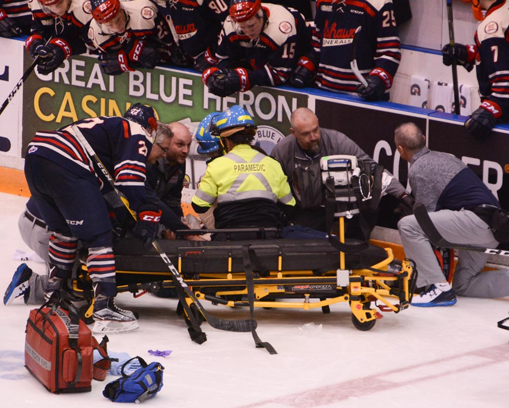 A scary moment during Sunday's game against Sudbury as Oshawa's Robbie Burt was motionless on the ice for nearly 20 minutes before being wheeled off on a stretcher. Thankfully, he was released from hospital later that night.