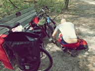 Josh hit his first flat shortly after entering the Katy Trail. This would be the first of many.