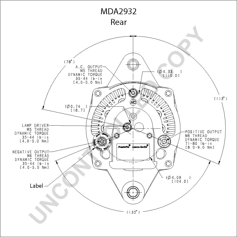 Mda2932 prestolite leece neville alternator 12v 150 changed to insulated mda2932