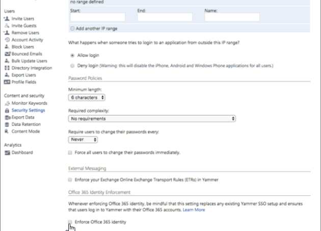 Screenshot that shows the Enfore Office 365 identity in Yammer checkbox in the Yammer Security Setting page. You must be a verified admin in Yammer and an Office 365 global administrator to see this setting.