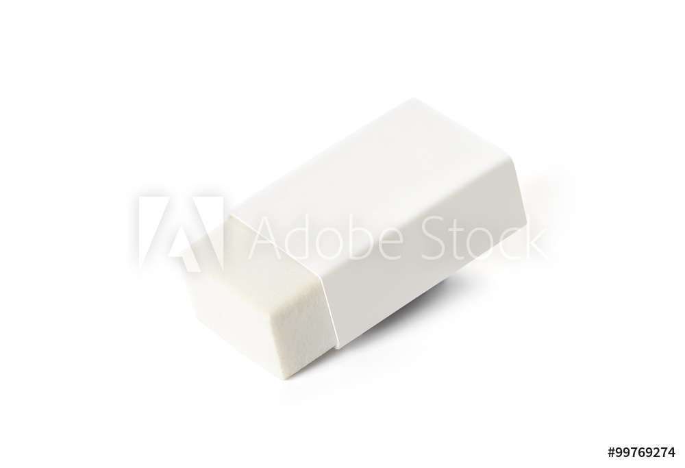하얀배경애 하얀 종이로 썋여있는 지우개가 있다,