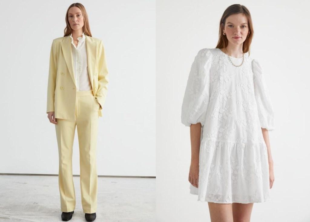 파스텔 재킷 컬러와 잘 어울리는 화이트톤 원피스 로퍼나 구두 매치하면 스타일난다