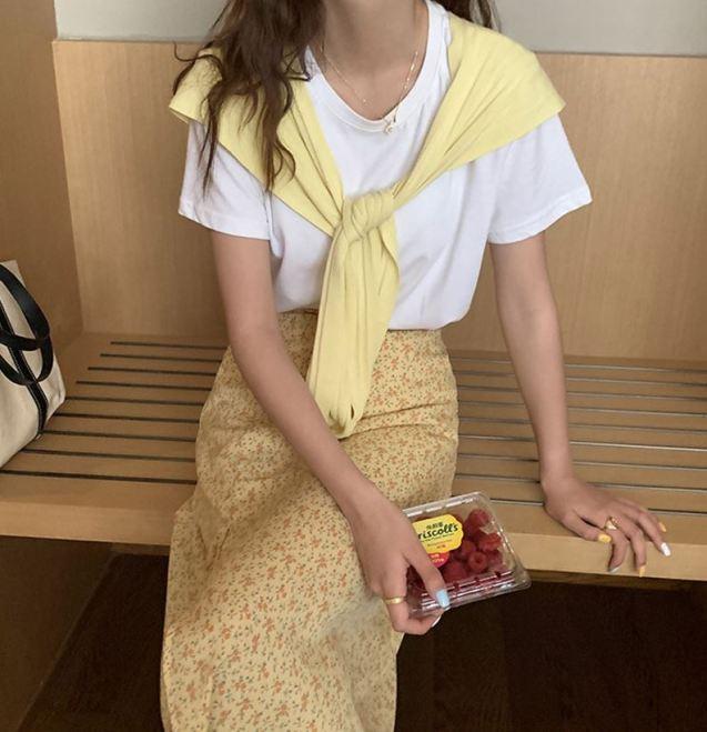 개나리 버터크림 옐로우 여름치마 여름스커트 썸머스커트 꽃무늬
