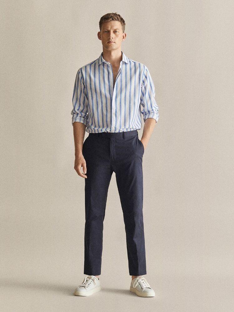여름에 남자 소개팅 패션으로 추천하는 스트라이프 린넨셔츠
