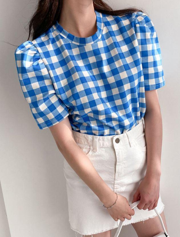 옷이날개 일상화보 체니아 체크 패턴 티셔츠