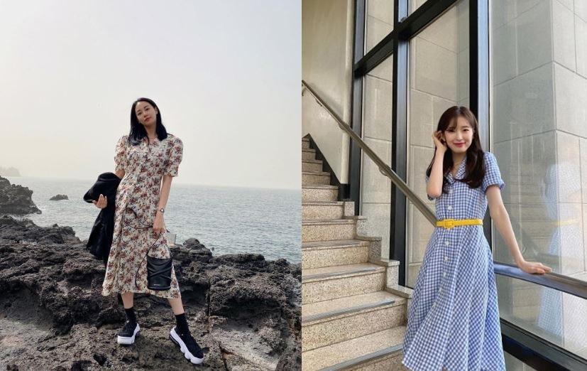 이주연과 오마이걸 아린의 패턴있는 원피스 스타일링