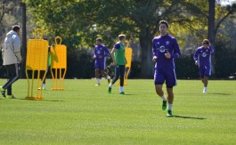 David Mateos jogs over to the next drill during training prior to Orlando City SC's media day on Friday, February 26, 2016. (Mike Gramajo / Orlando Soccer Journal)