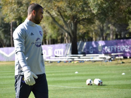 Earl Edwards Jr. prepares for goalkeeper drills during training prior to Orlando City SC media day on Friday, February 26, 2016. (Victor Ng / Orlando Soccer Journal)