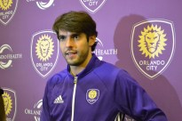 Ricardo Kaka addresses the media after the announcement of the new Orlando City SC training facility in Lake Nona on Jan. 29, 2016. (Rosie Reitze / Orlando Soccer Journal).
