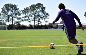 Ricardo Kaká winds up for a corner kick during training prior to Orlando City SC's media day on Friday, February 26, 2016. (Victor Ng / Orlando Soccer Journal)