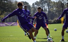 Ricardo Kaká participates in the team's keep-away drill during training prior to Orlando City SC's media day on Friday, February 26, 2016. (Victor Ng / Orlando Soccer Journal)