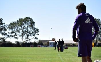 Ricardo Kaká looks on as he prepares to kick a corner kick during training prior to Orlando City SC's media day on Friday, February 26, 2016. (Victor Ng / Orlando Soccer Journal)