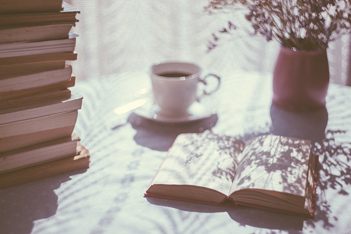 Photo of books and coffee