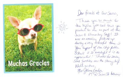 Thank-you note from a teacher