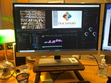 Photo of monitor showing Premiere Pro