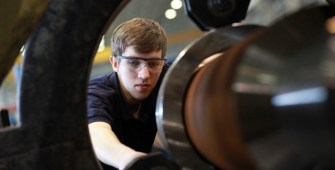 Student working on engine at Bentley
