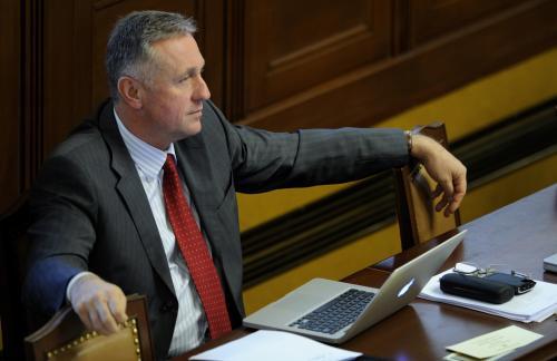 Mirek Topolánek na palubě. (foto ČTK, Michal Kamaryt, 18. 3. 2009)