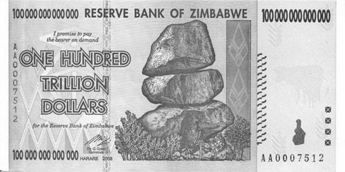 Strotrilionová bankovka Zimbabwe z r. 2008.
