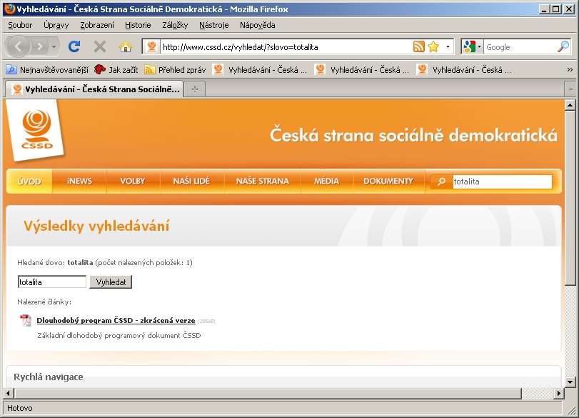 """Výsledek vyhledávání slova """"totalita"""" na webu ČSSD 4. 8. 2009."""