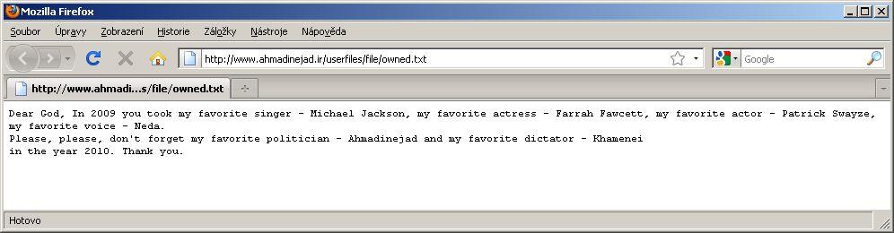 Ahmadínežádův web s textem, který tam umístil hacker.