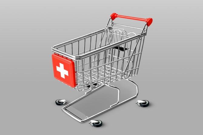 Hospital-style shopping cart