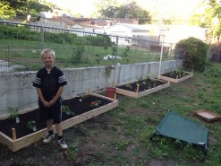 Michael helping us build our gardens