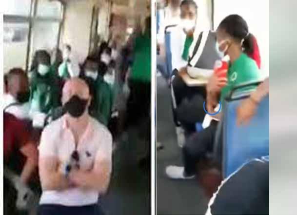 Nigerian man confronts Nigeria women football national team in a public bus in Austria (video)
