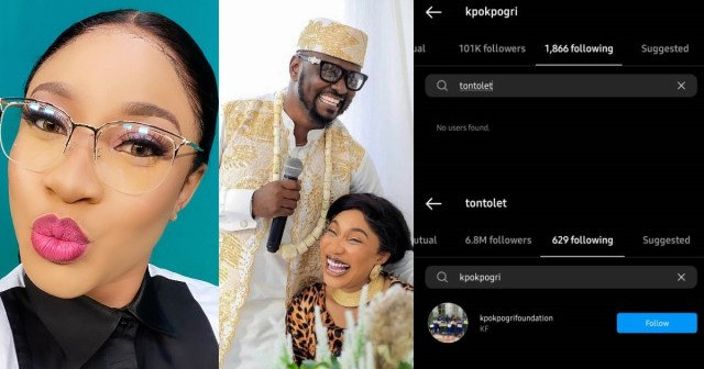 Cheating: Tonto Dikeh unfollows her lover, Prince Kpokpogri on Instagram