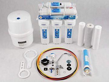 Klassische Umkehrosmoseanlage WASSERFILTER Germany - 5 Stufen 75GPD Membran 285 L Kalkfreies Trinkwasser täglich - Einbaufertiges Komplettset mit BIOaktivkohle und NSF ohne BPA - 1