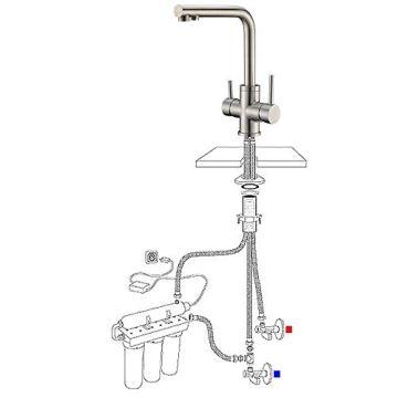 3 Wege Trinkwasserhahn Armatur für Wasserfilter Wasserhahn, CREA Küche Küchearmatur Hebel 3 in 1 Mischbatterie Spüle Filtersystem Spültischarmatur, RO Wasserkran Spülbeckenarmatur - 4