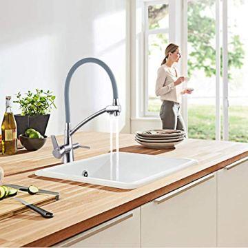 GAPPO Wasserhahn für Küche Küchenarmatur mit Brause 3 Wege Wasserhahn Wasserfilter gebürstet Nickel 360 Schwenkbereich, Grau, MEHRWEG - 4