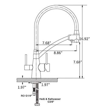 GAPPO Wasserhahn für Küche Küchenarmatur mit Brause 3 Wege Wasserhahn Wasserfilter gebürstet Nickel 360 Schwenkbereich, Grau, MEHRWEG - 7