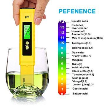 PH Messgerät , omitium PH Messgerät Wasser mit LCD Anzeige PH Wert Messgerät Digitaler PH-Meter für Trinkwasser, Lebensmittel, Schwimmbäder, Thermen, Aquarien, Hydroponik und andere  - 4