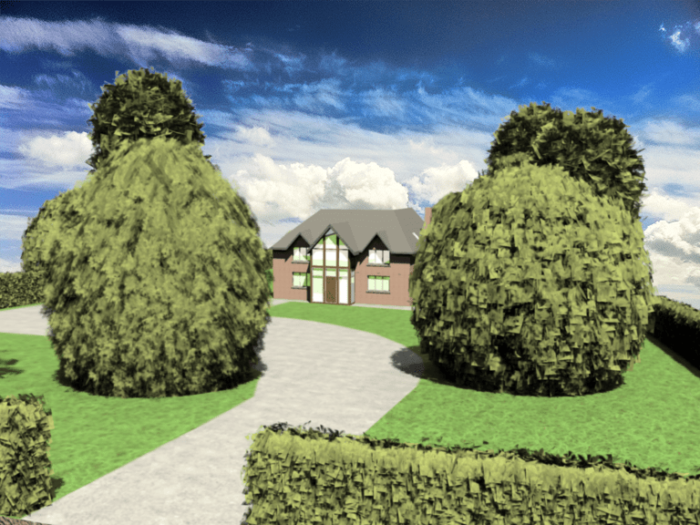 3D house front set within land