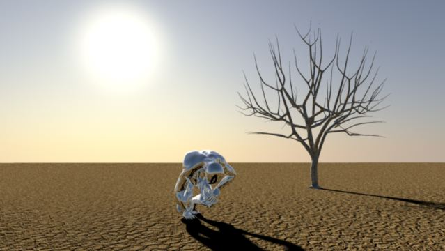 3D Animation Silver Man emerging 2