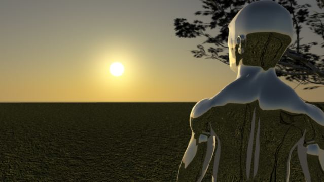 3D Animation Silver Man watches sunset