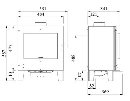 morso 4412 multifuel stove dimensions