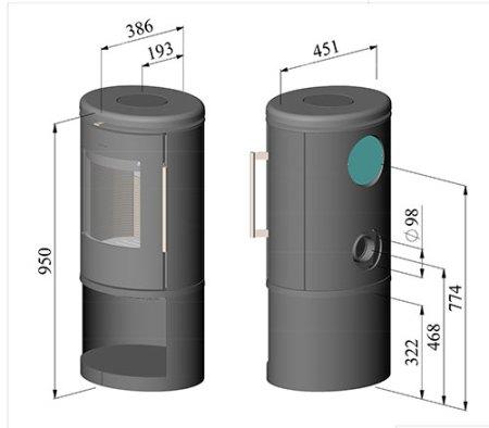 Dimensions of Morso 6843 wood burning stove