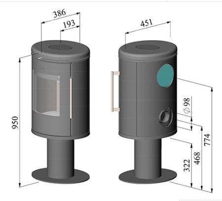 morso 6848 wood burning stove dimensions