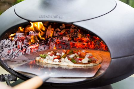 Pizza cooking in a Morso Forno