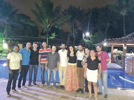 Farmacêuticos e auxiliares na confraternização de final de ano da Farmácia do Hospital Deputado Luís Eduardo Magalhães de Porto Seguro,no Hotel Solar do Imperador