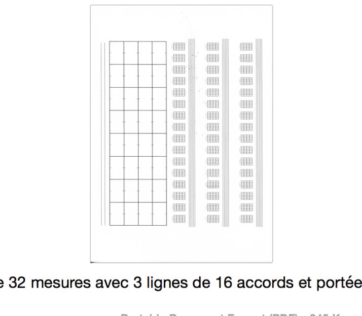 grille 32 mesures avec 3 lignes de 16 accords et portée