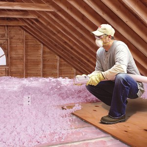 Blown insulation in Osoyoos.