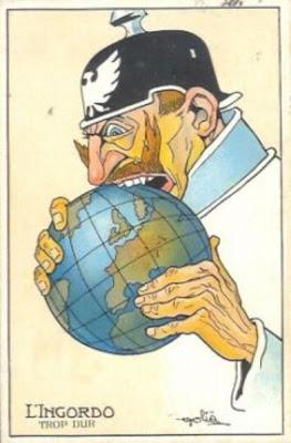 """Caricatura francesa do Kaiser Wilhelm II da Alemanha tentando comer o mundo, mas parece """"muito duro"""". Aprox. 1915."""