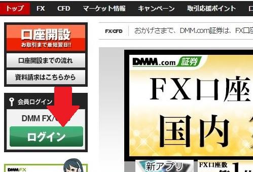 DMMFXログインボタン