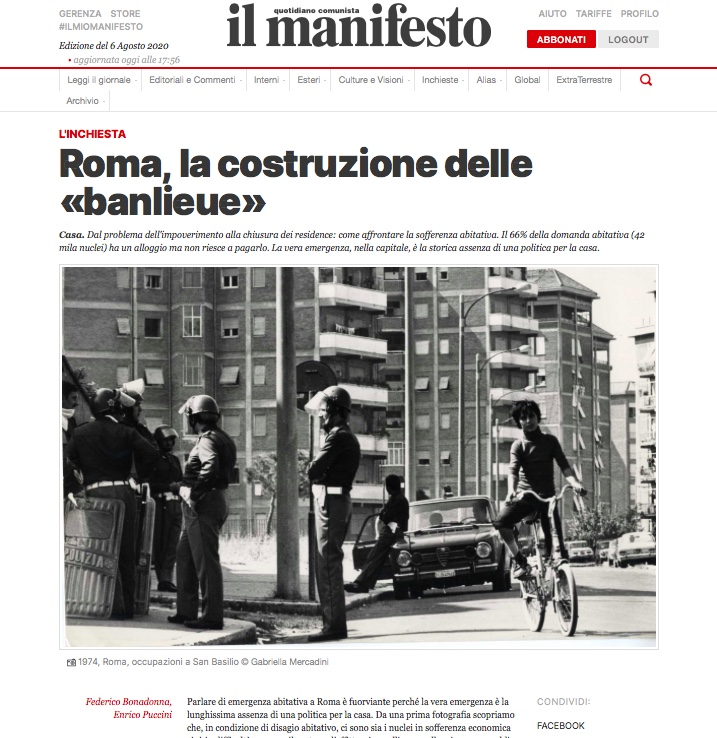 Roma, la costruzione delle «banlieue» di Federico Bonadonna e Enrico Puccini